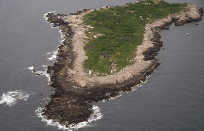 Aerial of the 31 acre Straitsmouth Island located off the coast of Rockport, MA.